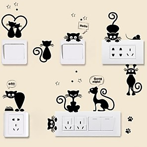 cheap Wall Stickers-Animals Wall Stickers Plane Wall Stickers Light Switch Stickers, Vinyl Home Decoration Wall Decal Wall / Switch Decoration 1pc / Removable