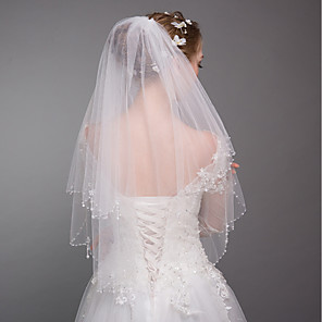 cheap Wedding Veils-Two-tier Modern Style / Wedding / Simple Style Wedding Veil Elbow Veils with Fringe / Splicing Tulle / Angel cut / Waterfall
