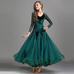 cheap Dancewear-Ballroom Dance Dress Lace Women's Training Performance Long Sleeve High Lace Velvet