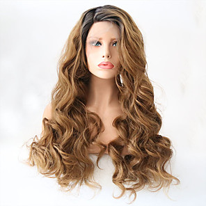 cheap Synthetic Lace Wigs-Synthetic Lace Front Wig Wavy Side Part Lace Front Wig Blonde Long Black / Strawberry Blonde Synthetic Hair 20-24 inch Women's Adjustable Heat Resistant Party Blonde