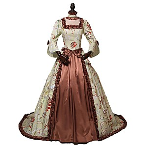 cheap Historical & Vintage Costumes-Rococo Victorian 18th Century Dress Women's Costume Brown Vintage Cosplay Party Prom 3/4 Length Sleeve Ball Gown / Floral