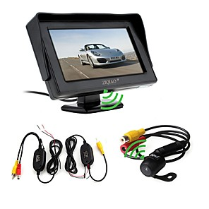 cheap Car Rear View Camera-ZIQIAO 3 in 1 Wireless Transmitter Receiver Kit Car Waterproof Backup Rear View Cameras With 4.3 HD Color Monitor Auto Parking