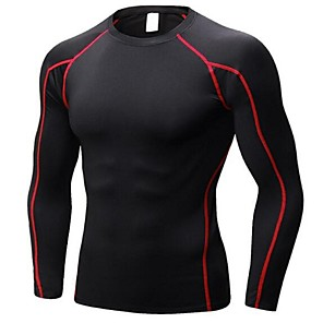 cheap Men's Running Shirts-Men's Long Sleeve Compression Shirt Tee Tshirt Sweatshirt Base Layer Top Athletic Elastane Breathability Quick Dry Lightweight Fitness Gym Workout Exercise Sportswear Black / Red Black+Sliver Black