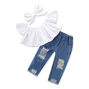 cheap Kids Collection Under $8.99-Toddler Girls' Casual Street chic Daily Going out Solid Colored Ruched Ripped Denim Short Sleeve Regular Regular Clothing Set White