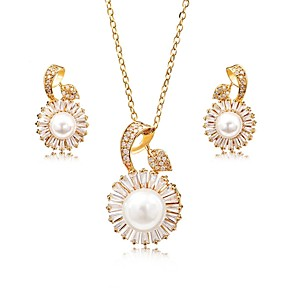 cheap Jewelry Sets-Women's Cubic Zirconia Pearl Jewelry Set Stud Earrings Drop Earrings Flower Ladies Sweet Elegant Zircon Silver Plated Gold Plated Earrings Jewelry Gold / Silver For Party Gift / Chain Necklace