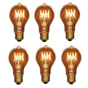 cheap LED Smart Home-6pcs 40W E26/E27 A60(A19) Warm White 2200-2700 K Retro Dimmable Decorative Incandescent Vintage Edison Light Bulb 220-240V V