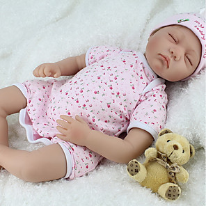 cheap Reborn Doll-NPK DOLL 22 inch Reborn Doll Baby Reborn Baby Doll Newborn lifelike Cute Hand Made Child Safe Cloth 3/4 Silicone Limbs and Cotton Filled Body with Clothes and Accessories for Girls' Birthday and