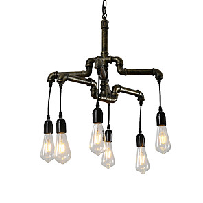 cheap Candle-Style Design-6-Light 6-Head Vintage Industrial Pipe Simple Loft Iron Pipe Pendant Lights Living Room Dining Room Kitchen Cafe Hallway Bar Lighting