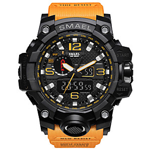 cheap Sport Watches-SMAEL Men's Sport Watch Military Watch Digital Watch Japanese Digital Quilted PU Leather Silicone Black / Red / Orange 50 m Water Resistant / Waterproof Calendar / date / day Chronograph Analog
