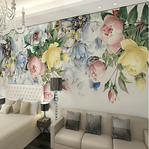 cheap Wall Stickers-3D Multicolor Rose Flower Custom Large Wall Covering Mural Wallpaper Fit Bedroom Restaurant TV Background