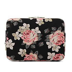 "cheap Sleeves,Cases & Covers-11.6"" 13.3"" 14"" 15.6"" Laptop Sleeves Canvas Floral Print for Macbook/Surface/HP/Dell/Samsung/Sony Etc"