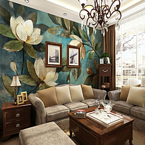 cheap Wall Stickers-3D Set Hand-Painted White Gardenia Large Wall Covering Mural Wallpaper Suitable Bedroom Restaurant Floral