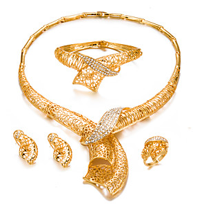 cheap Jewelry Sets-Women's Jewelry Set Bracelet Bangles Stud Earrings Statement Ladies Fashion Dubai Gold Plated Earrings Jewelry Gold For Wedding Party / Choker Necklace / Ring