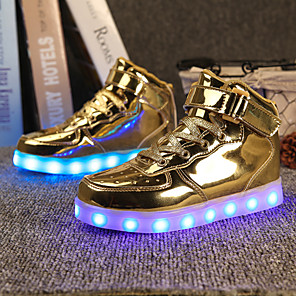 cheap Kids' LED Shoes-Men's Light Up Shoes Spring & Summer LED / Casual Daily Sneakers PU Gold / Silver