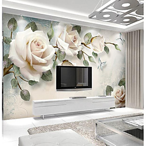 cheap Wall Stickers-Light Pink Rose Custom 3D Large Wall Covering Mural Wallpaper Fit Restaurant Tv Background Flower