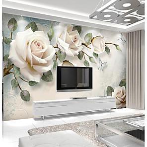 cheap Wallpaper-Light Pink Rose Custom 3D Large Wall Covering Mural Wallpaper Fit Restaurant Tv Background Flower