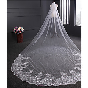 cheap Wedding Slips-One-tier Vintage Style Wedding Veil Cathedral Veils with Paillette Tulle / Classic