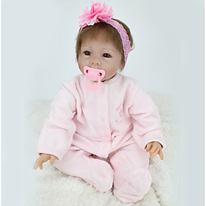 cheap Reborn Doll-NPK DOLL 22 inch Reborn Doll Girl Doll Baby Girl Reborn Baby Doll Newborn lifelike Cute Hand Made Child Safe Cloth 3/4 Silicone Limbs and Cotton Filled Body with Clothes and Accessories for Girls