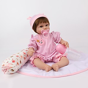 cheap Reborn Doll-NPKCOLLECTION 18 inch NPK DOLL Reborn Doll Girl Doll Baby Girl Newborn lifelike Cute Hand Made Child Safe Cloth 3/4 Silicone Limbs and Cotton Filled Body with Clothes and Accessories for Girls