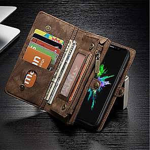 cheap iPhone Cases-Case For Apple iPhone X / iPhone 8 Plus / iPhone 8 Wallet / Card Holder / Shockproof Full Body Cases Solid Colored Hard Genuine Leather