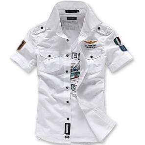 cheap Latin Dancewear-Men's Geometric Slim Shirt Street chic Military Daily White / Black / Blue / Sleeveless