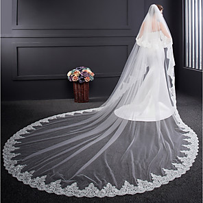cheap Jewelry Sets-Two-tier Voiles & Sheers / Embroidery Wedding Veil Cathedral Veils with Embroidery Tulle / Classic