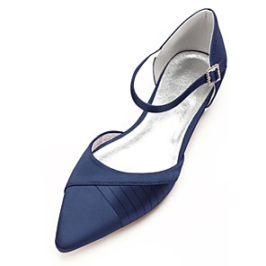 cheap Wedding Shoes-Women's Wedding Shoes Plus Size Flat Heel Pointed Toe Comfort D'Orsay & Two-Piece Wedding Party & Evening Ribbon Tie Solid Colored Satin Summer White / Black / Ivory