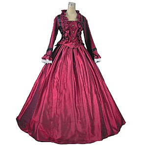 cheap Historical & Vintage Costumes-Victorian Maria Antonietta Rococo Dress Women's Lace Japanese Cosplay Costumes Emerald Green / Red+Black / Purple Solid Color Poet Sleeve Ankle Length