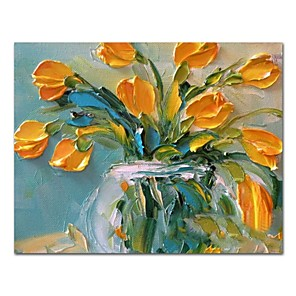 cheap Abstract Paintings-Oil Painting Hand Painted - Still Life Floral / Botanical Comtemporary Modern Stretched Canvas