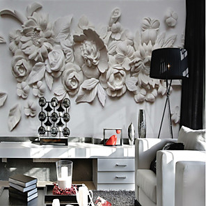 cheap Wall Murals-Floral Art Deco 3D Home Decoration Classic Modern Wall Covering, Canvas Material Adhesive required Mural, Room Wallcovering