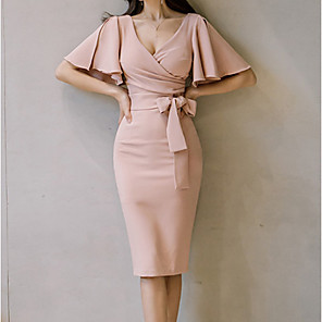 cheap Wedding Shoes-Women's Blushing Pink Dress Summer Bodycon Solid Colored Butterfly Sleeves V Neck Dusty Rose Wrap S M Slim High Waist / Cotton / Sexy