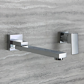 cheap Bathroom Sink Faucets-Bathroom Sink Faucet - Rotatable Chrome Wall Mounted Single Handle Two HolesBath Taps