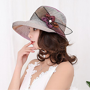 cheap Historical & Vintage Costumes-Women's Sun Hat Lace Vintage - Solid Colored Lace Purple Beige / Fabric