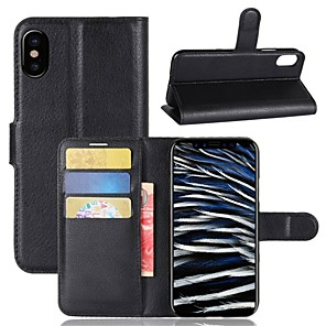 cheap iPhone Cases-Case For Apple iPhone X / iPhone 8 Plus / iPhone 8 Wallet / Card Holder / Flip Full Body Cases Solid Colored Hard PU Leather