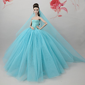 cheap Dolls Accessories-Doll Dress Dresses For Barbiedoll Light Blue Tulle Lace Cotton Blend Dress For Girl's Doll Toy / Kids