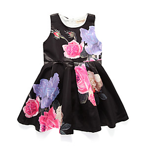 cheap Girls' Dresses-Kids Girls' Simple / Basic Party / Holiday Floral Print Sleeveless Cotton / Acrylic / Polyester Dress Black 7-8 Years(140cm) / Cute