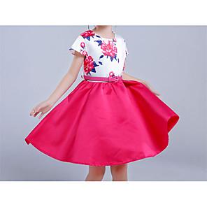 お買い得  女児 ドレス-子供 女の子 シンプル ヴィンテージ ベーシック パーティー 祝日 ソリッド フラワー パッチワーク リボン プリント ノースリーブ ドレス フクシャ / コットン