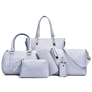 cheap Handbag & Totes-Women's Bags PU Leather Bag Set 6 Pieces Purse Set Embossed for Event / Party White / Black / Blue / Bag Sets / Fall & Winter
