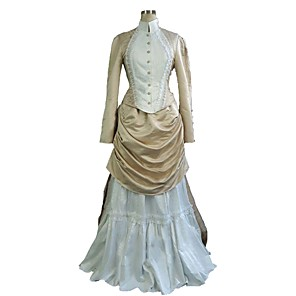 cheap Historical & Vintage Costumes-Duchess Victorian 1910s Edwardian Dress Outfits Women's Costume Purple / Yellow / Beige Vintage Cosplay Long Sleeve Floor Length Plus Size Customized / Top / Top