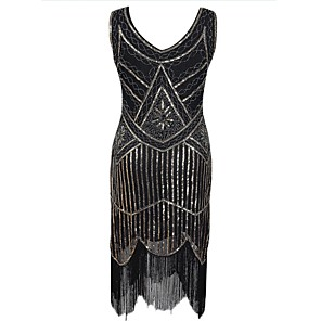 cheap Historical & Vintage Costumes-The Great Gatsby Charleston 1920s The Great Gatsby Roaring Twenties Roaring 20s Flapper Dress Women's Sequins Costume Black / Golden / White Vintage Cosplay Party Homecoming Prom Sleeveless Knee