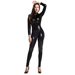 cheap Videogame Costumes-Shiny Zentai Suits Catsuit Skin Suit Motorcycle Girl Adults' Spandex Latex Cosplay Costumes Sex Men's Women's Golden Red Silver Solid Colored Halloween Masquerade