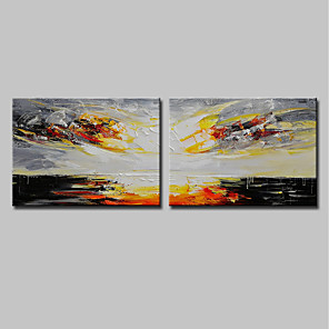 cheap Abstract Paintings-Mintura® 2 Panels Hand-Painted Modern Abstract Rising Sun Oil Painting On Canvas Wall Art Picture For Home Decoration Ready To Hang