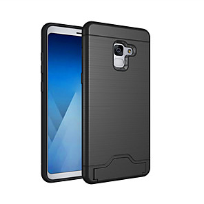 cheap Samsung Case-Case For Samsung Galaxy A8 2018 / A8+ 2018 Card Holder / Shockproof / with Stand Back Cover Solid Colored Hard PC