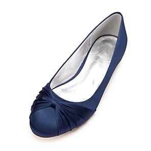 cheap Wedding Shoes-Women's Wedding Shoes Flat Heel Round Toe Satin Flower / Ribbon Tie Satin Comfort / Ballerina Spring / Summer Dark Blue / Silver / Ivory / EU40