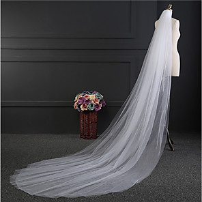 cheap Wedding Veils-Two-tier Simple Style Wedding Veil Chapel Veils with Fringe Tulle / Straight Cut