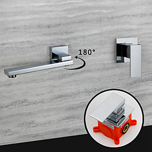 cheap Bathroom Sink Faucets-Bathroom Sink Faucet - Widespread / Rotatable Chrome Wall Mounted Single Handle Two HolesBath Taps