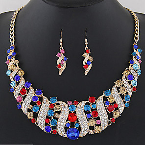 cheap Jewelry Sets-Women's Drop Earrings Statement Necklace Bridal Jewelry Sets Geometrical Rainbow Wave Ladies Fashion Elegant Crystal Earrings Jewelry Black / White / Champagne For Wedding Evening Party