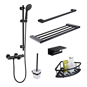 cheap Faucet Sets-Faucet Set - Handshower Included / Thermostatic Black Wall Installation Two Handles Two HolesBath Taps