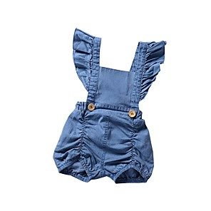cheap Baby Girls'  Dresses-Baby Girls' Casual / Street chic Daily / Sports Solid Colored Backless / Ruffle / Ruched Sleeveless Romper Light Blue / Toddler