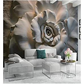baratos Papel de Parede-Floral Art Deco 3D Decoração para casa Clássico Modern Revestimento de paredes, Tela de pintura Material adesivo necessário Mural,